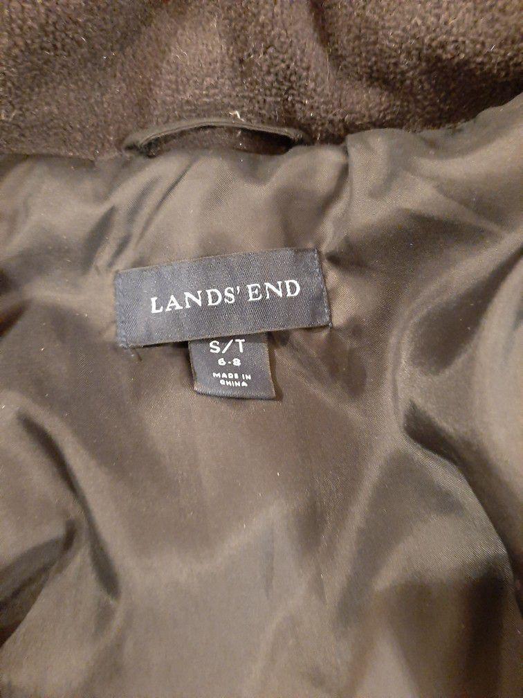 Lands End Black Full Length Trench Coat Puffer Jacket Sz S / T