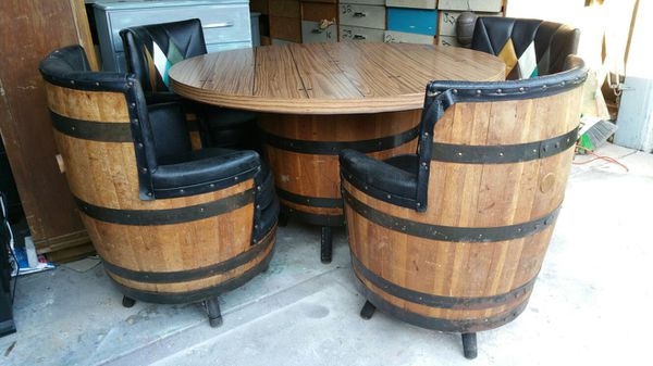 1950s Vintage Whiskey Barrel Table And Chairs Set For Sale In San