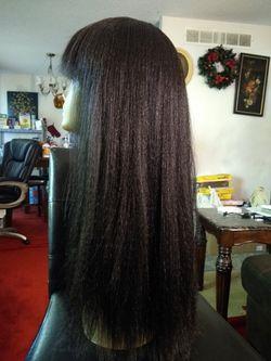 Human hair blend wig Thumbnail