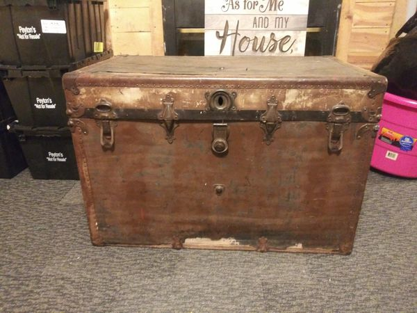 Antique Flat Top Steamer Trunk For