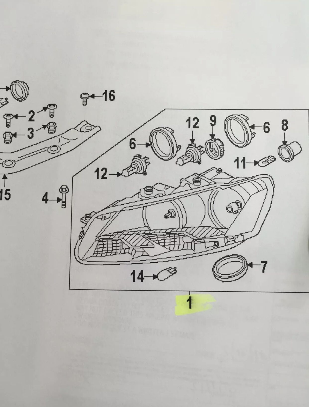 2012-2015 VW PASSAT LEFT HEADLAMP ASSY W/XENON PART # 561-941-005 D