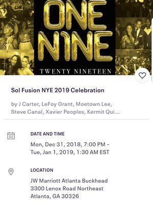 SolFusion 2018 NYE package for Sale in Atlanta, GA