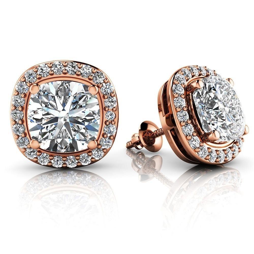 Cushion Cut Natural Diamond Stud Earrings In 10k Rose Gold (4.34 Carat ,H-I SI2)