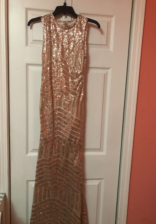 Long Rose Gold Prom Dress With Key Hole Back *PAYMENT ACCEPTED ...