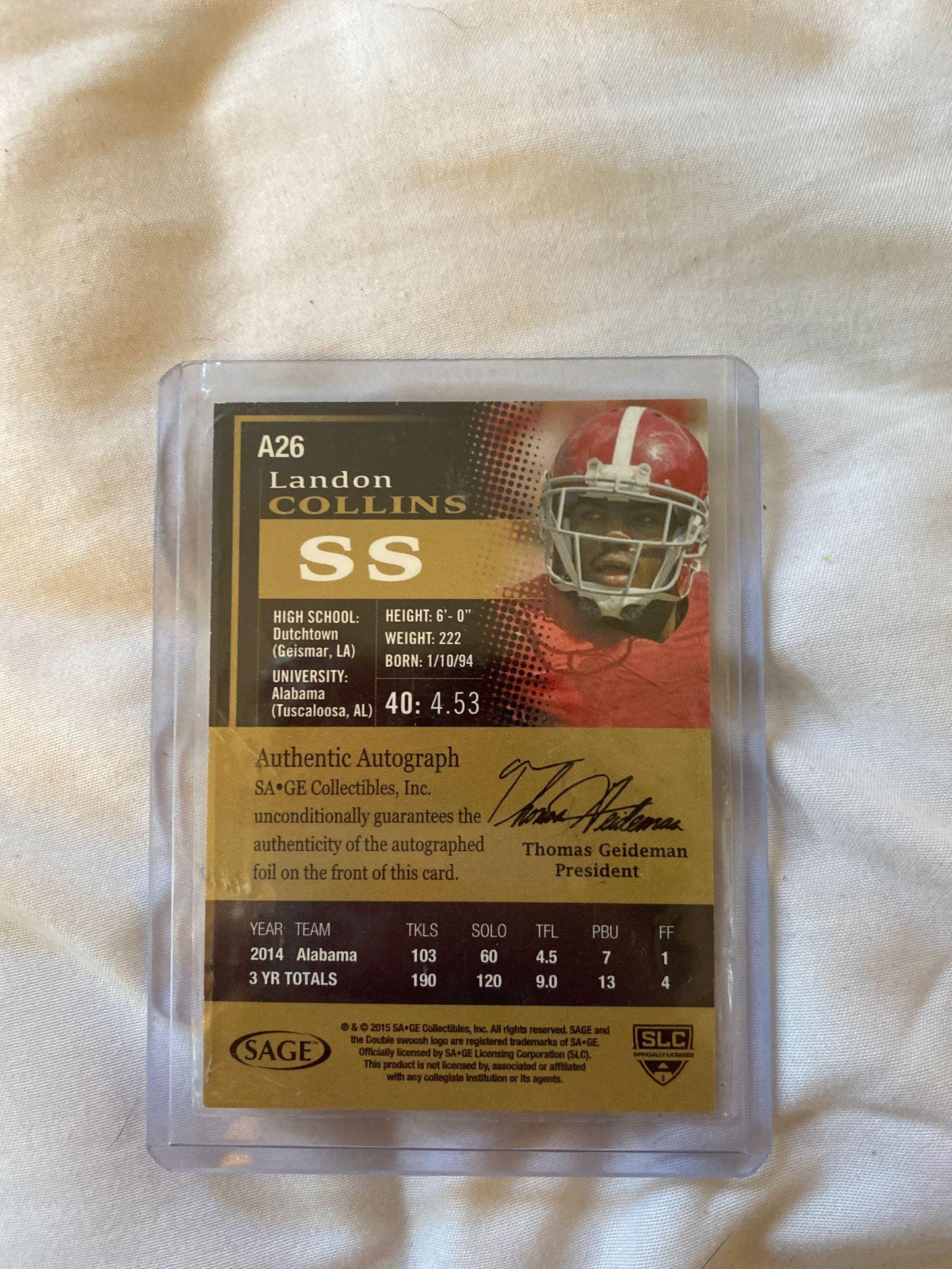 Landon collins autographed card 150/250