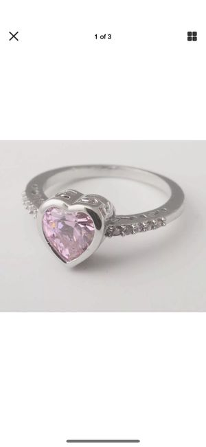 Sterling silver heart cut pink topaz cubic zirconia gem ring size 7 for Sale in Lake Ridge, VA