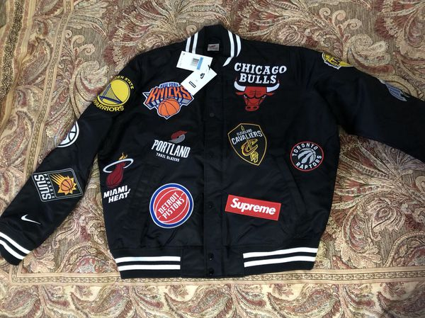 Supreme Nike Nba Warm Up Varsity Jacket Black Medium