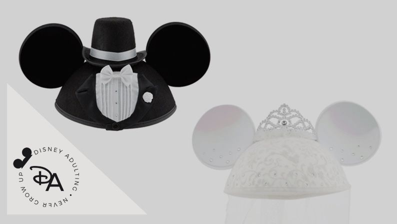 Mickey & Minnie Bride & Groom Hats. Great for pictures and wedding. Disneyland is opened!