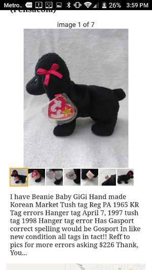 6b0f77b24a1 Beanie Baby GiGi Korean Market hand made for Sale in Pensacola
