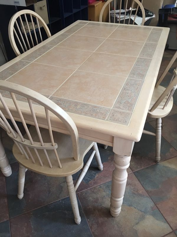 Kitchen table with 4 chairs solid wood with inlaid tile ...