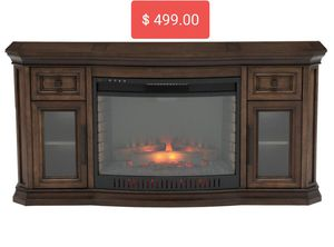 Georgian Hills 65in Bow Front TV Stand Infrared Electric Fireplace in Oak for Sale in Las Vegas, NV