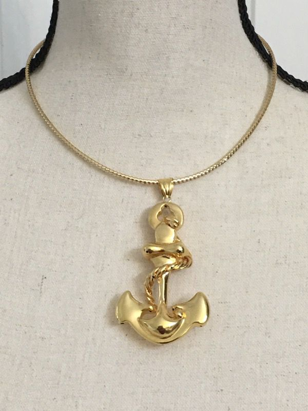 18k gold anchor pendant and choker for sale in pearland tx offerup aloadofball Gallery