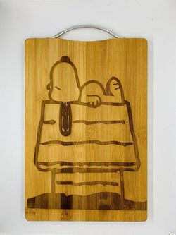 Snoopy House Laser Engraved Bamboo High Quality Cutting Board  Thumbnail