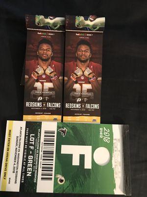Washington Redskins Vs Atlanta Falcons Tickets with Parking **Great Seats** Nov 4th for Sale in Washington, DC