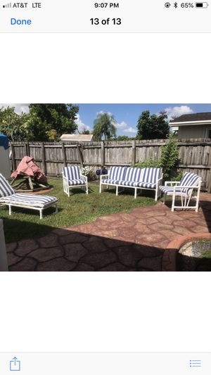 Outdoor patio pvc furniture all 4 pcs sofa lounge chair and two chairs with cushion will never rust for Sale in Miami, FL