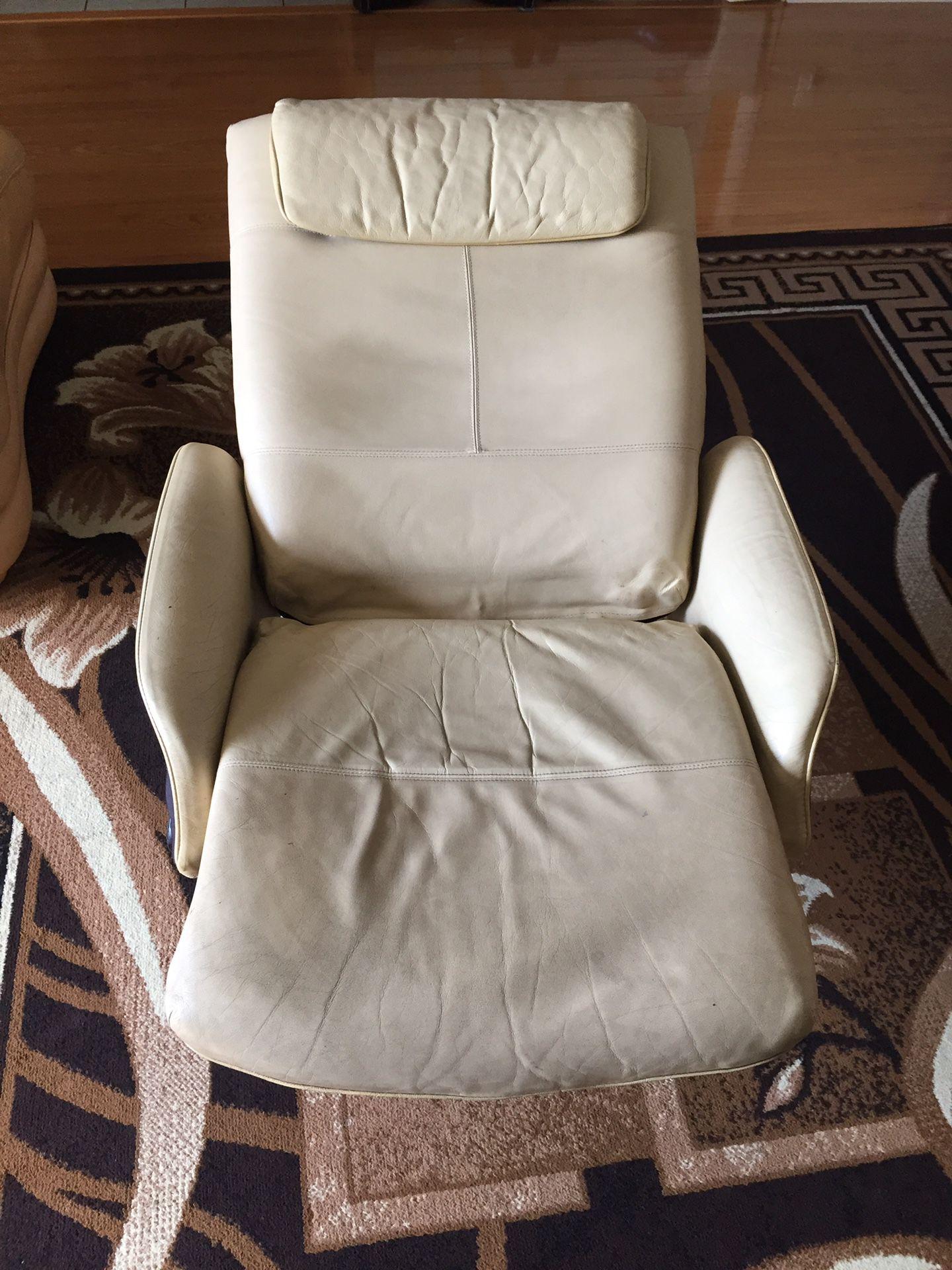 Ottoman leather swivel reclining IKEA chair
