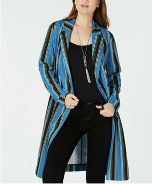 Photo BRAND NEW INC INTERNATIONAL CONCEPTS WOMENS STRIPED LONG TRENCH JACKET XL