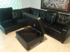 Brand New Black Faux Leather Sectional Sofa Couch +Storage Ottoman for Sale in West Springfield, VA