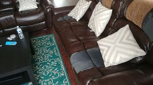 Bonded leather reclining sofa and loveseat with entertainment console for Sale in Frederick, MD