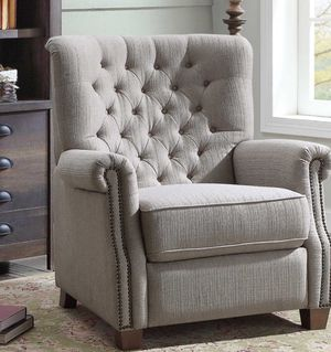 Photo New!! recliner, relaxing chair, TV recliner, couch, upholstered cushioned fabric farmhouse recliner in gray color, armchair, living room furniture,