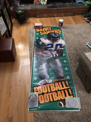 Photo Mint Condition Vintage Little Caesar 1996 Berry Sanders/John Elway/Herschel Walker Almost 8Ft Paper Poster