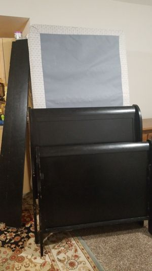 Twin Sleigh Bed with Free mattress & box spring for Sale in Fairfax, VA