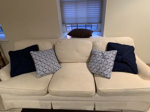 Beige couch with pillows for Sale in Washington, DC