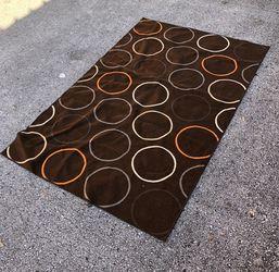 "82"" x 52"" Area Rug - Modern Circles Earth Tones Brown Orange Tan Grey Thumbnail"