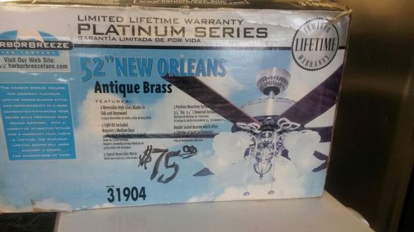 Harbor Breeze Platinum Series 52 New Orleans Antique Br Ceiling Fan Brand Still In Box 75