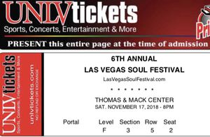 2 FLOOR SEATS TO SOULFEST NOV 17th for Sale in Henderson, NV