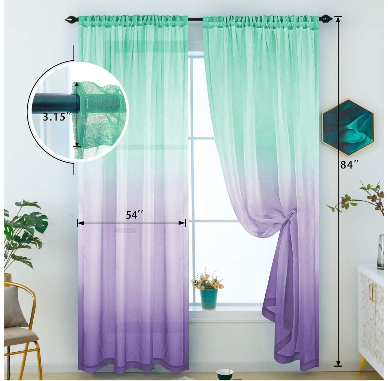 Sheer Curtains Mermaid Decor Reversible Lilac and Turquoise Voile Reversible Panels 100% Polyester Faux Linen