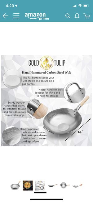 Photo Carbon Steel Wok Authentic Hand Hammered 14 inch Flat Bottom by Gold Tulip - Wooden and Helper Handle Sturdy - Not Too Heavy - Suitable for Gas Stove