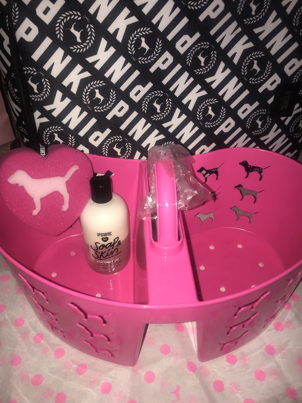 New Victoria\'s Secret PINK Shower Caddy & Velcro Wrap Towel Set for ...