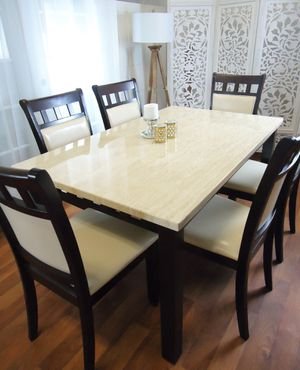 New Marble Top Dining Tables Dining Room Kitchen Table With Six Chairs for Sale in Baltimore, MD