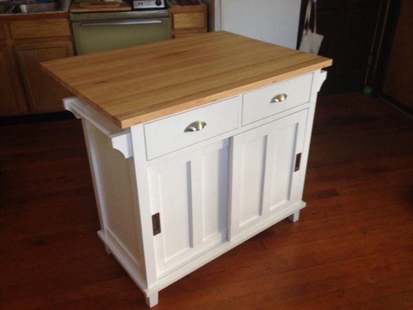 Crate and Barrel solid wood drop leaf Belmont kitchen island (white ...