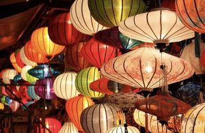 Set of 6 silk lanterns from Vietnam for Sale in Santa Monica, CA