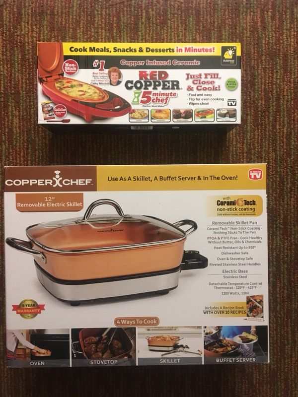 Red Copper 5 Min Chef Copper Chef 12 Removable Electric Skillet