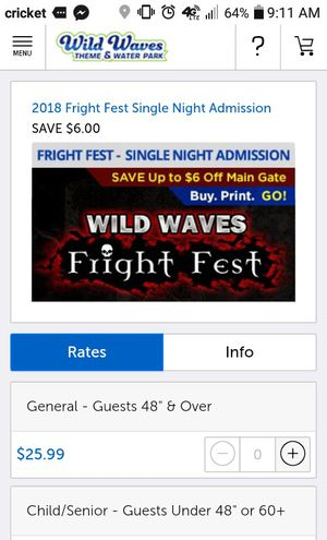 2 Wild Waves tickets - $30 for Sale in Joint Base Lewis-McChord, WA