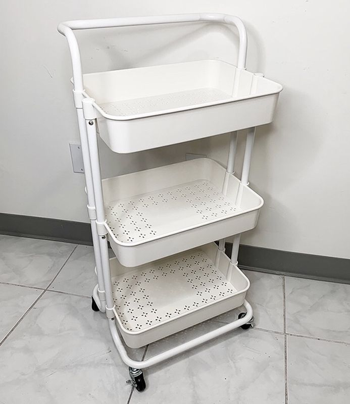 $35 each (new in box) 3-tier shelf utility cart mobile storage organizer 17x14x34 inches rolling wheels