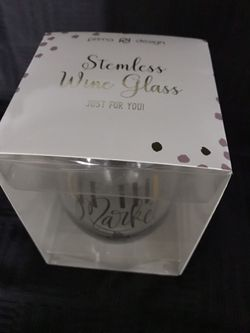 Stemless Engagment Wine Glass Thumbnail