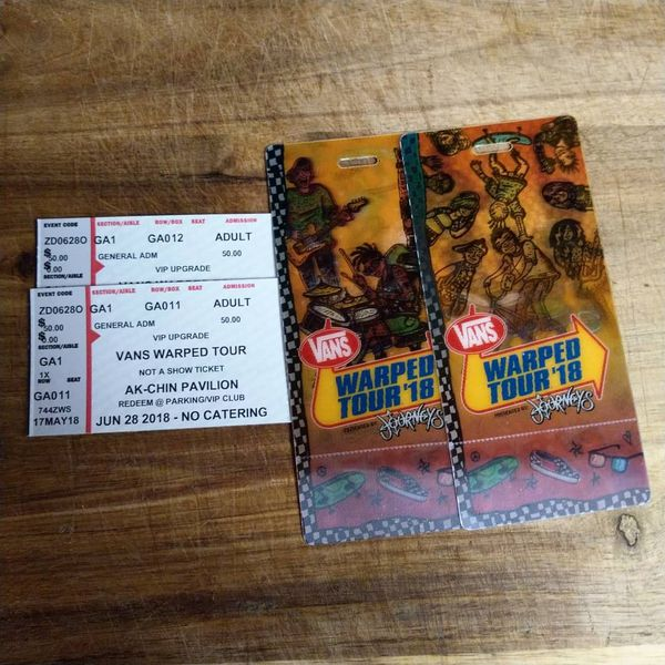 Vans warped tour tickets plus vip for sale in tempe az offerup 150sold m4hsunfo