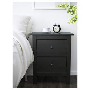 Photo IKEA HEMNES Black/Brown 2-drawer Chest Nightstand