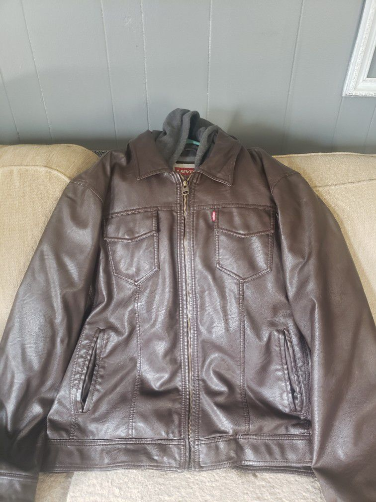 Levi's brown leather jacket with hood LX