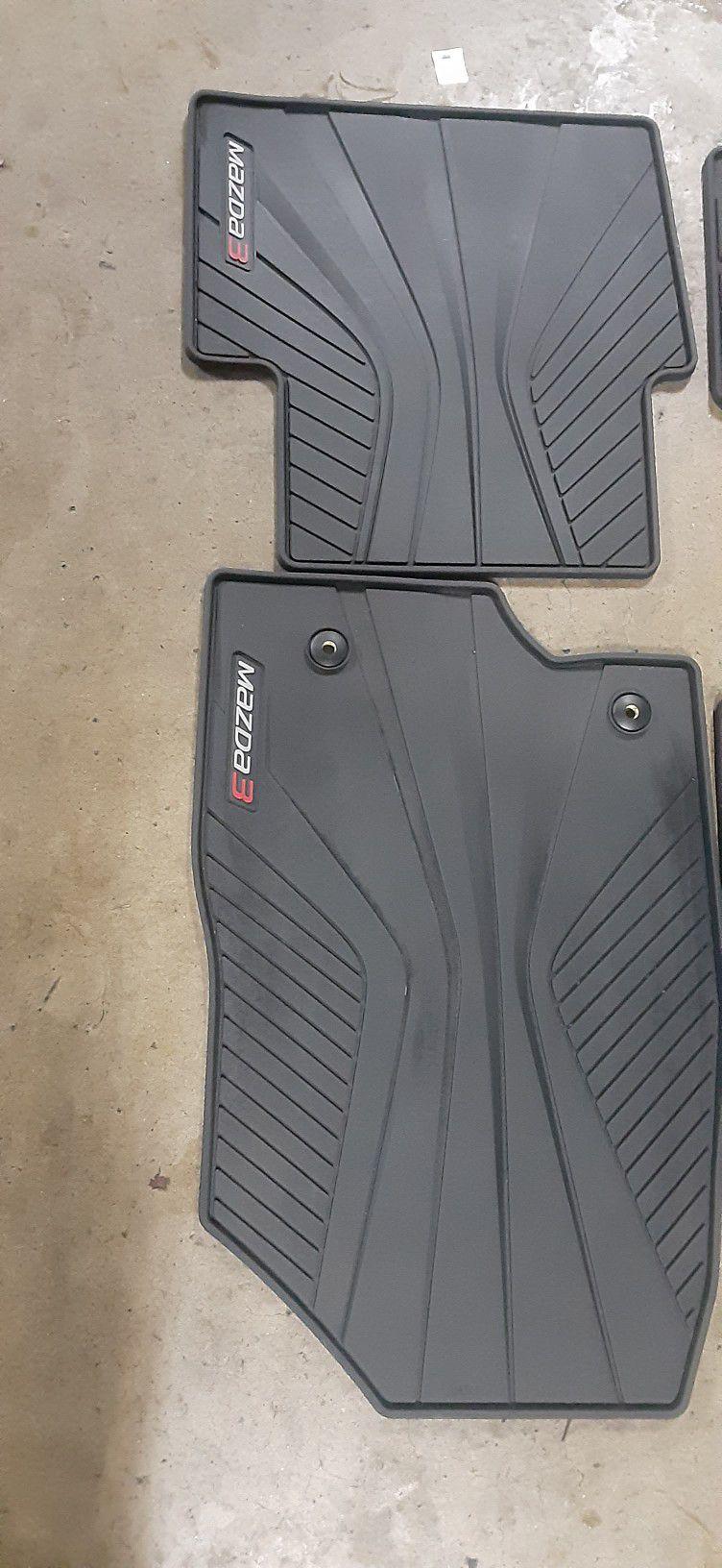 Mazda 3 Genuine Floor Matts OEM Black All Weather Rubber. 2014 - 2018