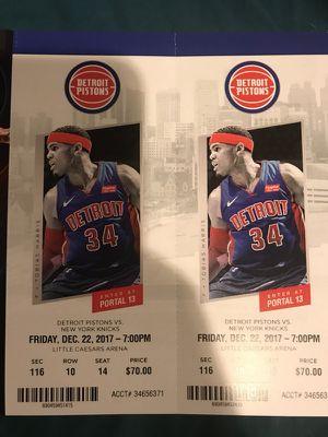 Pistons vs New York Knicks tomorrow for Sale in Windsor, ON