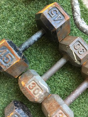 Dumbbell weight and a Barbell Dumbbell for Sale in Oceanside, CA