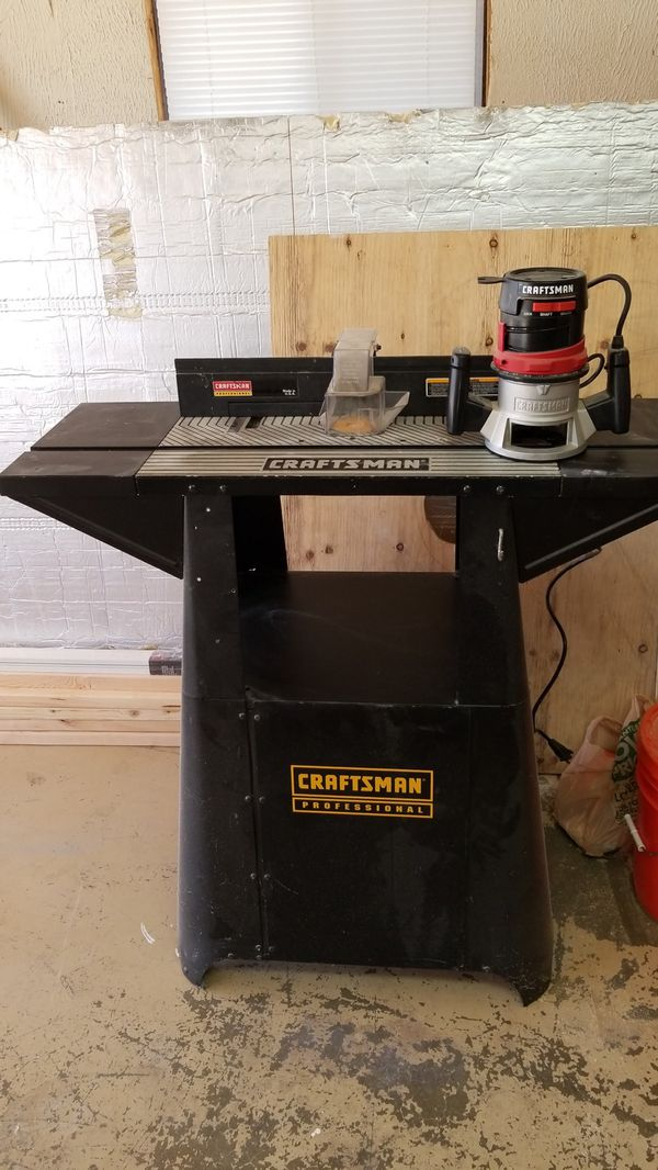 craftsman professional router table and 1.5 hp fixed base router for ...