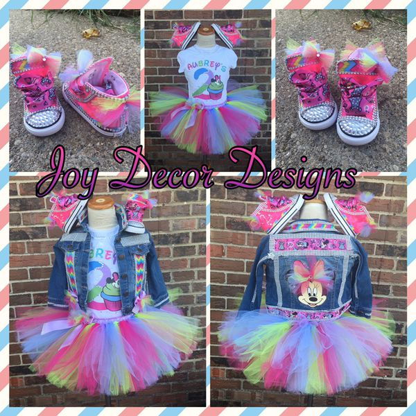 fe011c4f8868 Custom Minnie Mouse Tutu Outfit with Denim Jacket and shoes for Sale ...