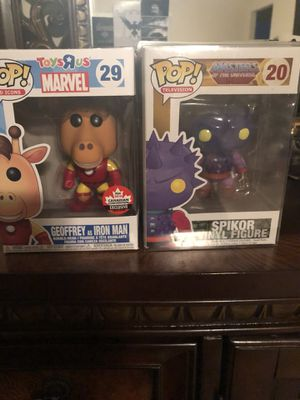 Geoffrey as Iron Man And Spikor Masters of the universe Funko pop for Sale in Ocoee, FL