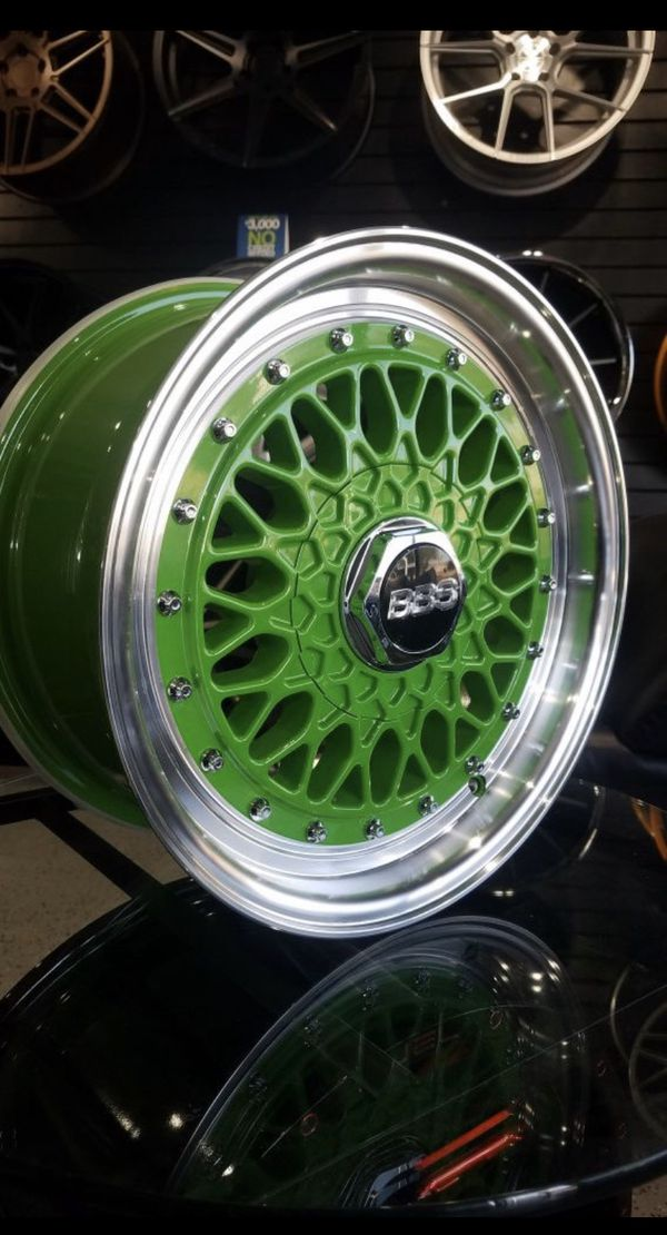 Green BBS RS style wheels 4x100 15x7 et20 rims fits civic ...